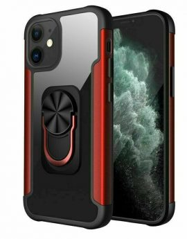 Clear Glass Shockproof Case with Magnetic Ring Holder